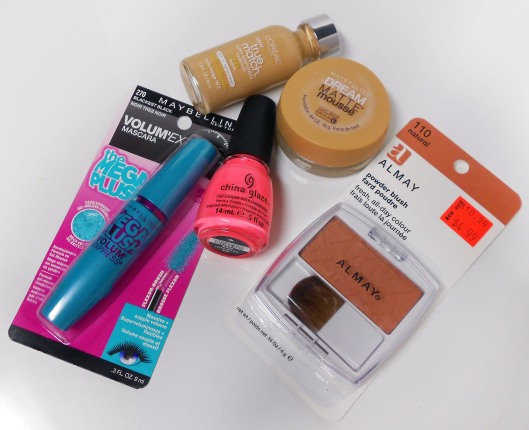 "Maybelline Volum' Express the Mega Plush Mascara, L'Oréal True Match Foundation, Maybelline Dream Matte Mousse Foundation, China Glaze ""Flip Flop Fantasy"" Nail Polish, Almay Powder Blush ""Natural 110"""