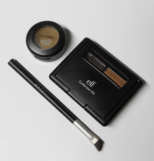 MAC- Coquette, e.l.f Eyebrow Kit-Dark, Maybelline-Small Angle Brush