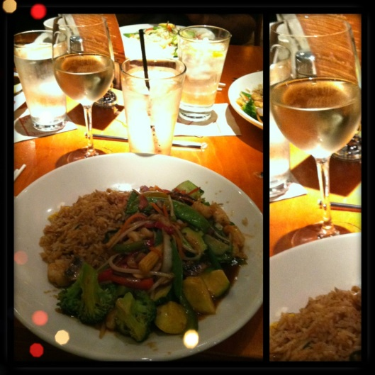 Tasty Chinese Dinner With White Wine (fuel after shopping)